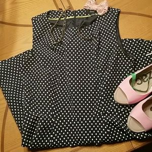 Dark navy polka dot sleeveless dress